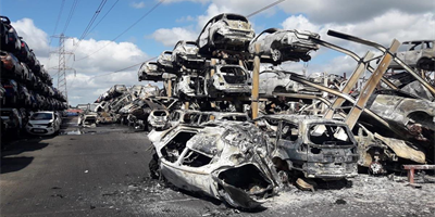 Yorkshire salvage yard fire